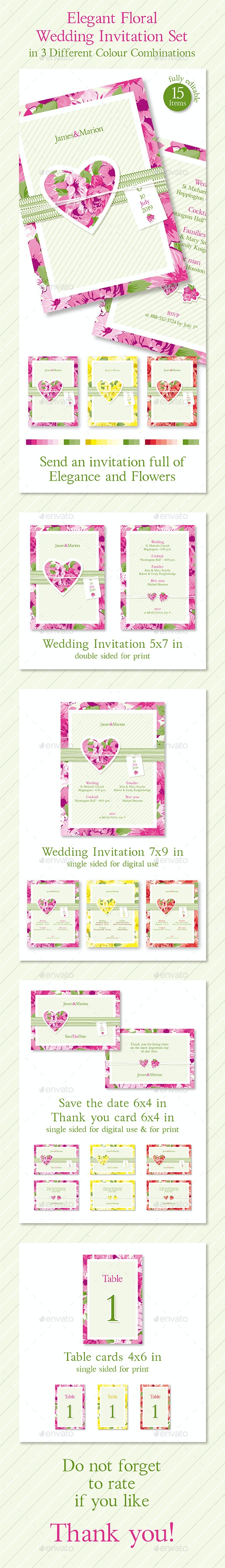 Elegant Floral Wedding Invitation in 3 Different Color Combinations - Weddings Cards & Invites