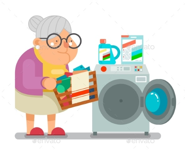 Old Woman Lady Wash Dirty Clothes Laundry Washing - People Characters