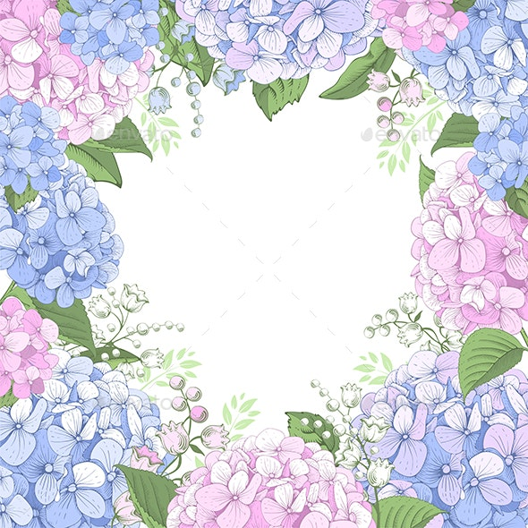 Floral Frame with Hydrangea - Borders Decorative