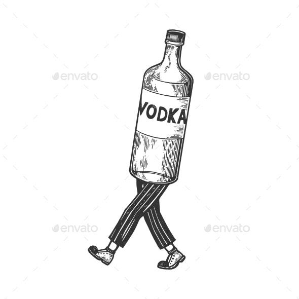 Vodka Walks on its Feet Sketch Engraving Vector - Miscellaneous Vectors