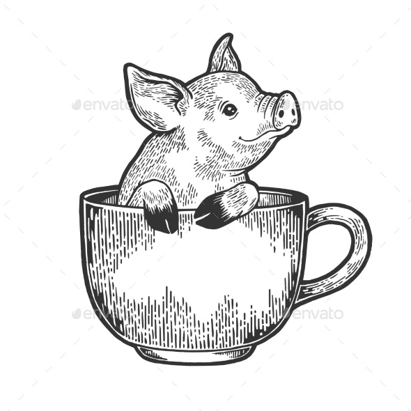 Little Pig in Coffee Cup Sketch Engraving Vector - Animals Characters