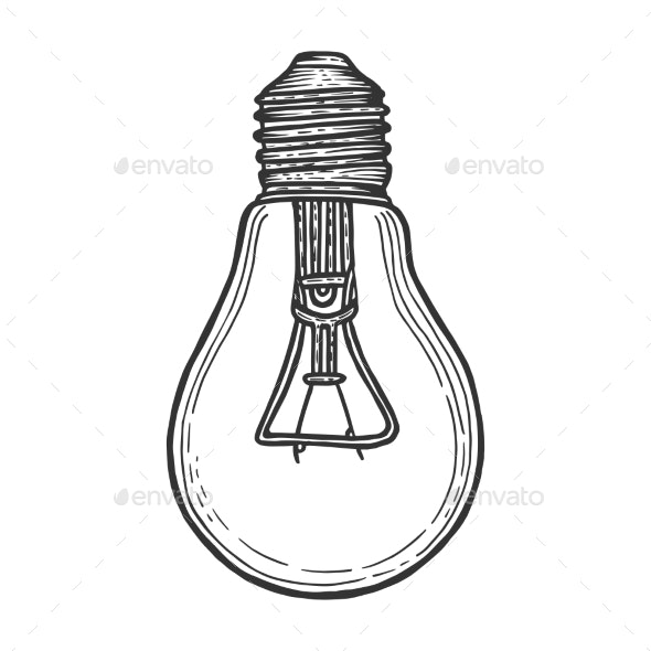 Electric Lamp Sketch Engraving Vector Illustration - Miscellaneous Vectors