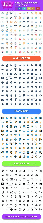 100 Virtual Reality Vector Icons - Icons