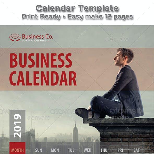 Modern Business Style Calendar 2019 - 2020 Template