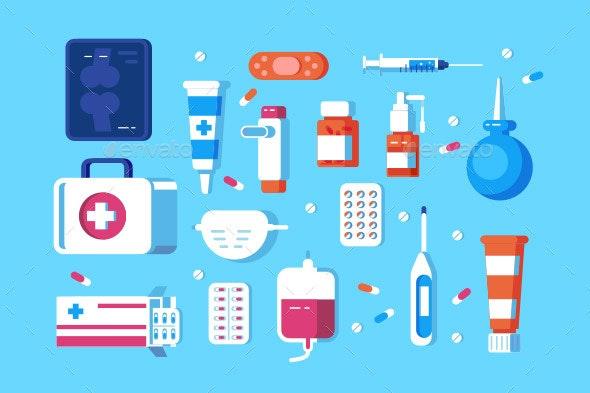 Set of Medical Accessories - Health/Medicine Conceptual