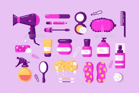 Set of Different Body Care Accessories - Health/Medicine Conceptual