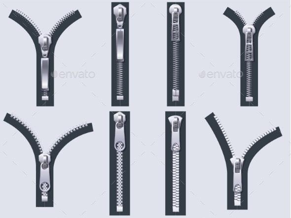 Open and Closed Zipper - Miscellaneous Vectors