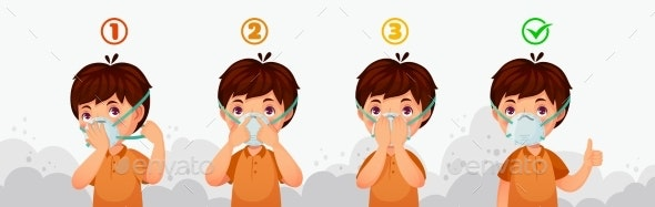 Mask N95 Instruction Child Air Pollution - People Characters