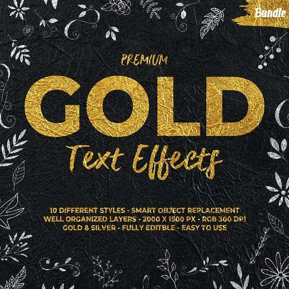 Gold Text Effects Bundle