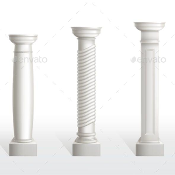 Antique Columns Set Isolated on White Background