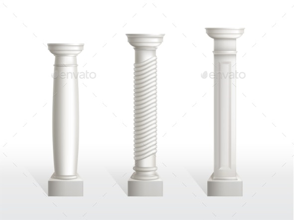 Antique Columns Set Isolated on White Background - Buildings Objects