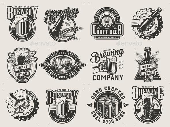 Monochrome Brewing Badges - Miscellaneous Vectors