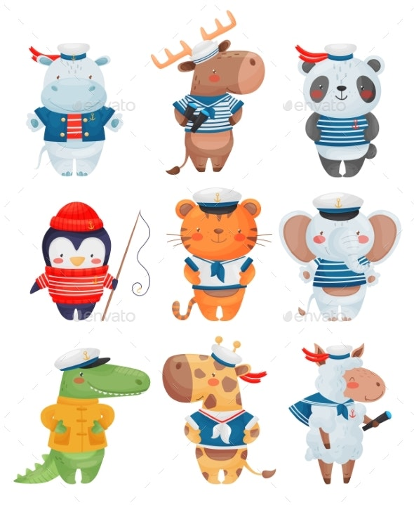 Animals Sailors Characters in Cartoon Style. Set - Animals Characters