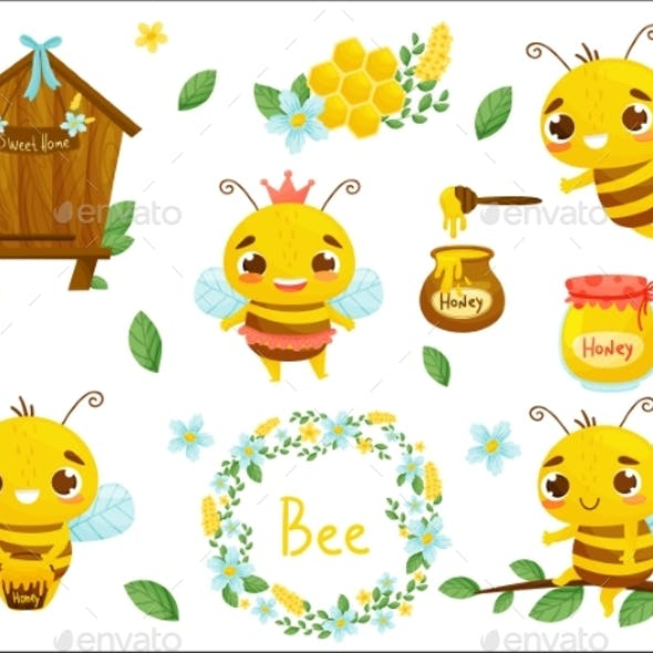 Set of Honey Bees and Other Beekeeping
