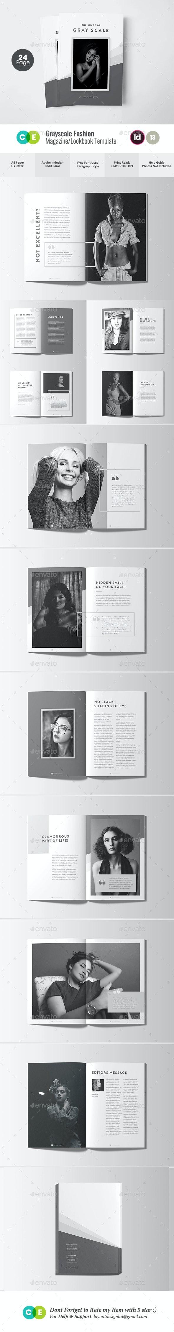 Grayscale Fashion Magazine Lookbook V13 - Magazines Print Templates