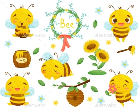 Set of Honey Bees and Other Beekeeping - Animals Characters