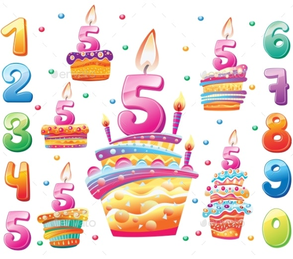 Set of Happy Birthday Cakes and Numbers for Each - Birthdays Seasons/Holidays