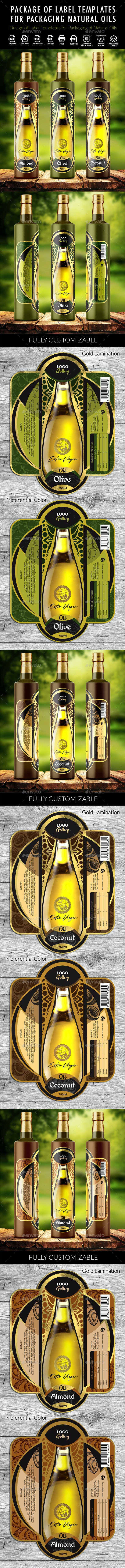Design of Label Templates for Packaging of Natural Oils - Packaging Print Templates