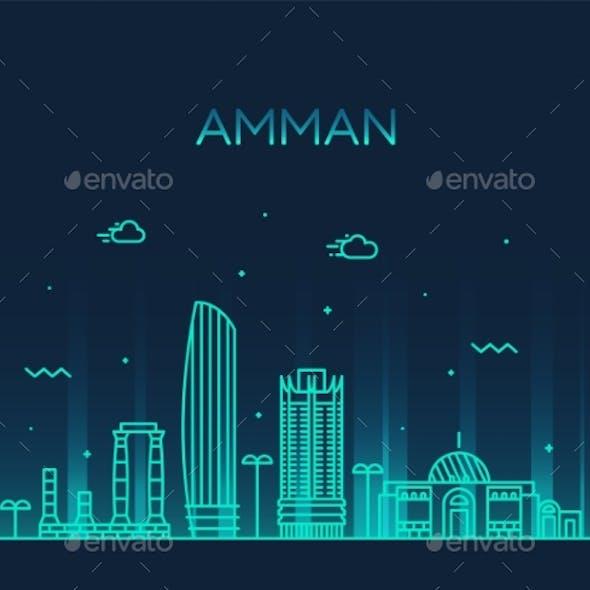 Amman Skyline Jordan Vector