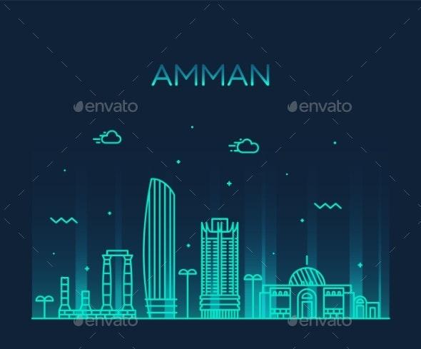 Amman Skyline Jordan Vector - Buildings Objects