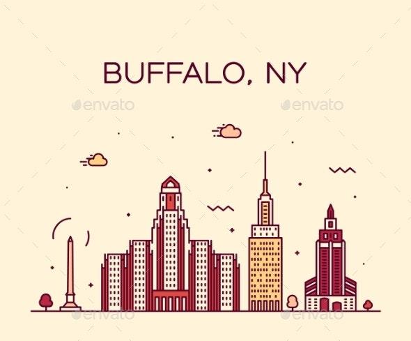 Buffalo Skyline New York USA Vector Linear Style - Buildings Objects