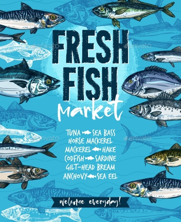 Fresh Fish Banner for Seafood Market Template - Animals Characters