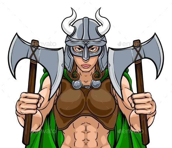 Viking Female Gladiator Warrior Woman Team Mascot - People Characters