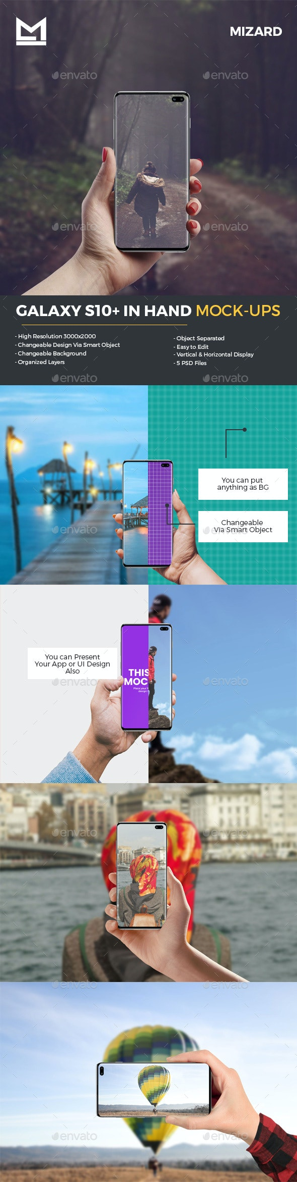 Galaxy S10+ in Hand Mockups - Mobile Displays