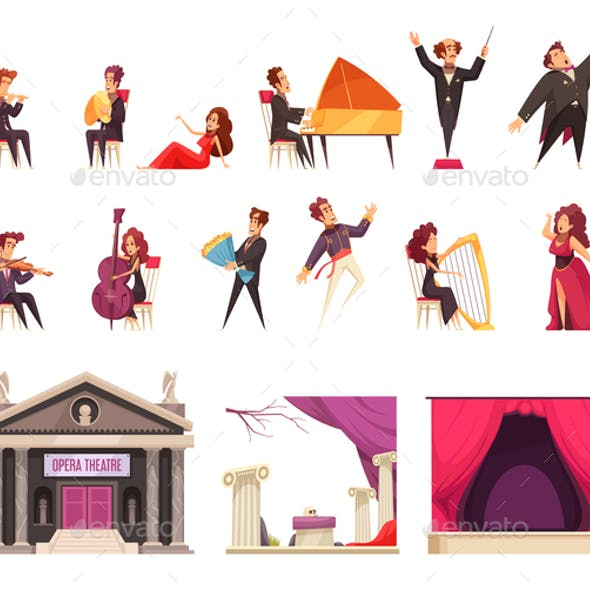 Opera Theater Cartoon Set