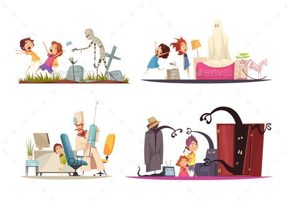 Childhood Fears Concept Icons Set - Miscellaneous Conceptual