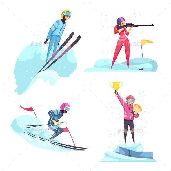 Winter Sports Concept Icons Set - Sports/Activity Conceptual