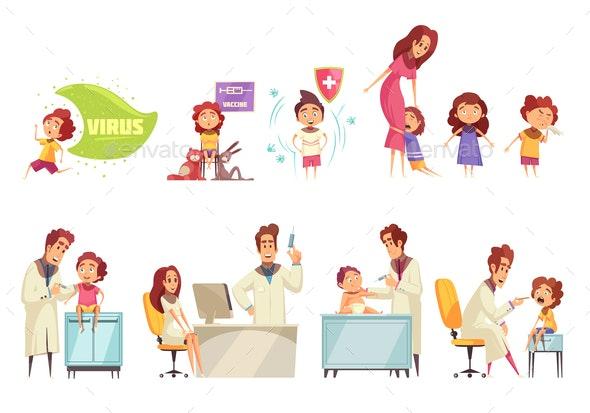 Kids Vaccine Decorative Icons Set - Health/Medicine Conceptual