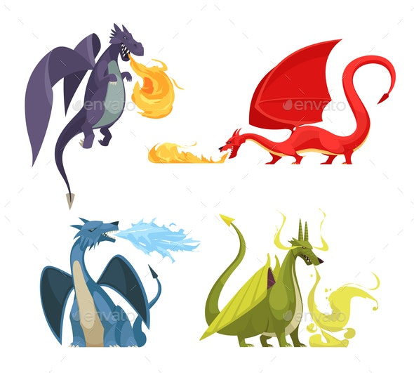 Dragons Fire Cartoon Concept - Animals Characters