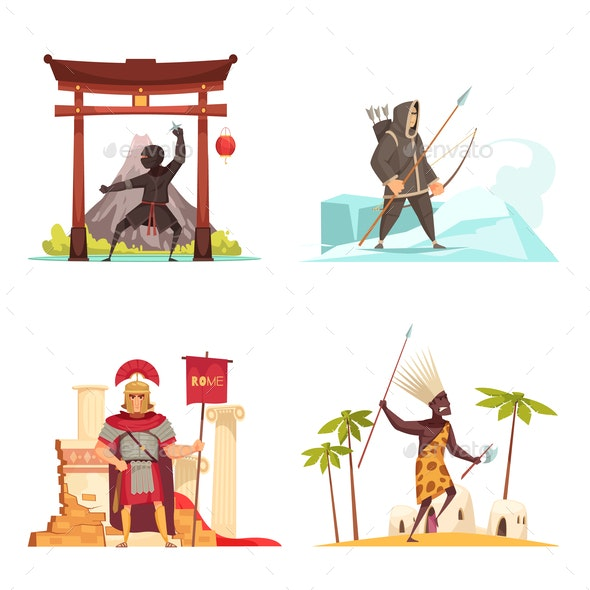 Ancient Warriors Concept Icons Set - People Characters