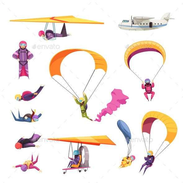 Skydiving Flat Set - People Characters