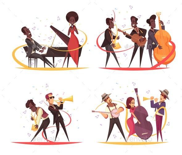 Jazz Musicians Design Concept - People Characters