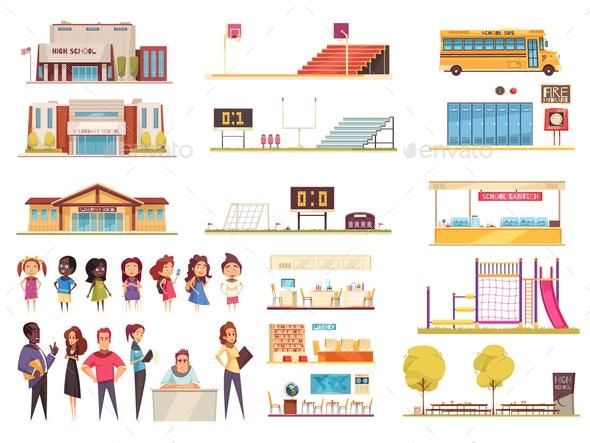 School Cartoon Icons Set - People Characters
