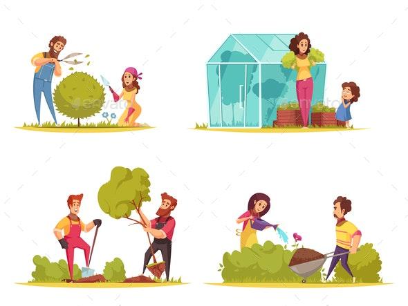 Gardening Cartoon Design Concept - People Characters