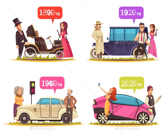 Ground Transportation Cartoon Design Concept - People Characters