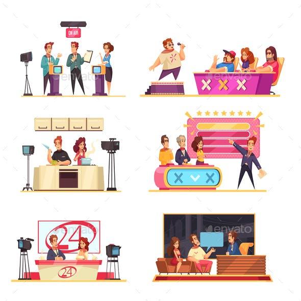 TV Game Show Cartoon Set