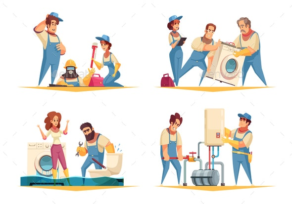 Plumber Work Cartoon Concept - Services Commercial / Shopping