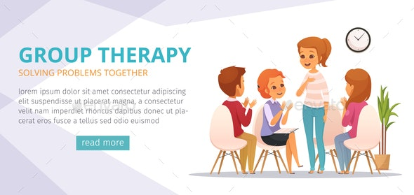 Group Therapy Cartoon Banner - Health/Medicine Conceptual