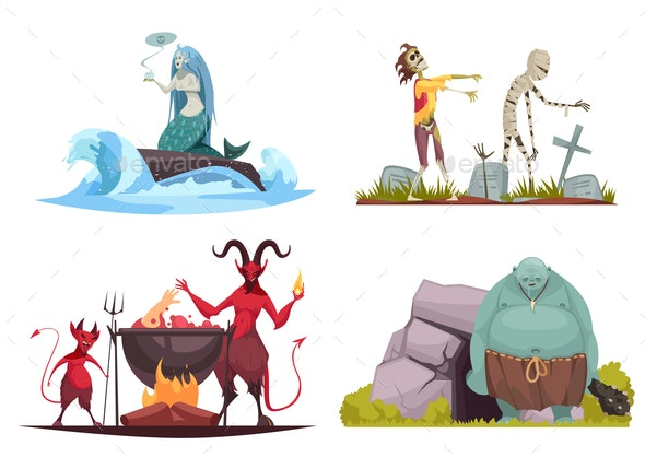 Evil Character Cartoon Concept - Monsters Characters
