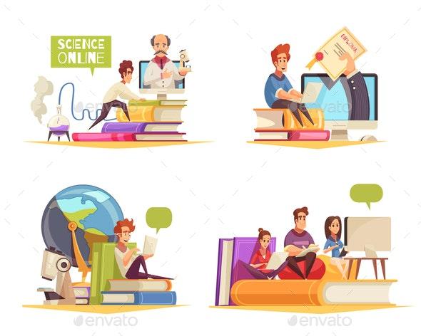 Online Courses Cartoon Concept - Web Technology