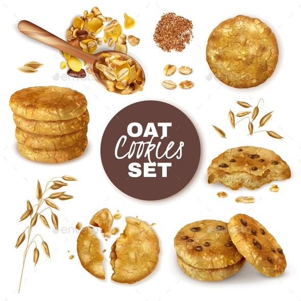 Oatmeal Cookies Realistic Set - Food Objects