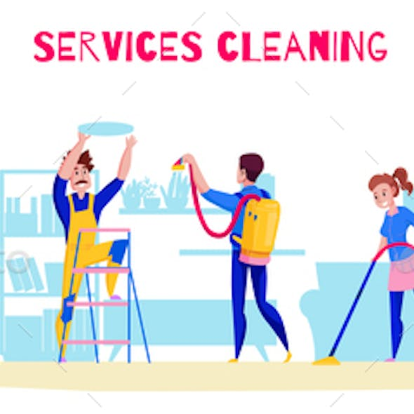 Cleaning Service Horizontal Composition