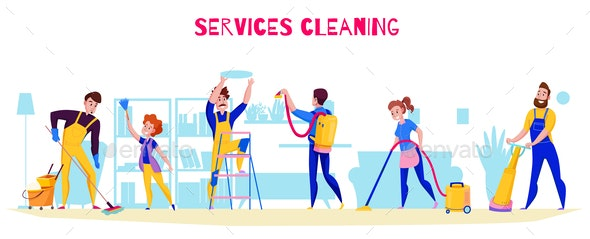 Cleaning Service Horizontal Composition - Services Commercial / Shopping