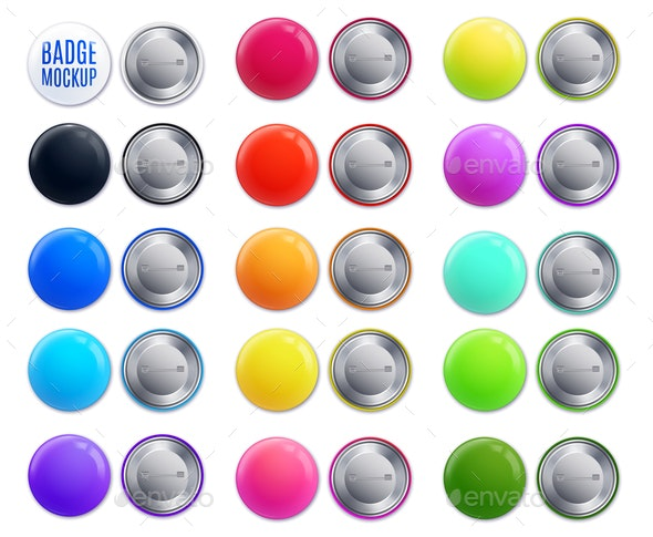 Realistic Mockup Badge Colorful Icon Set - Man-made Objects Objects
