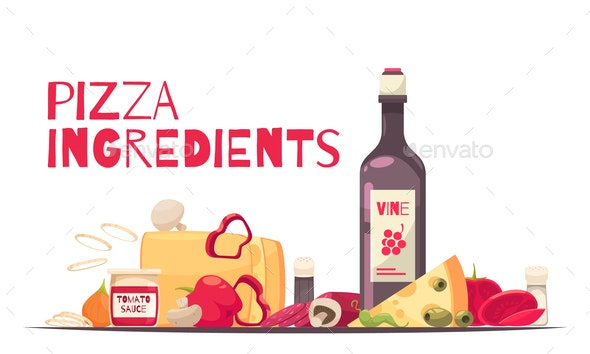 Colored Pizza Composition - Food Objects