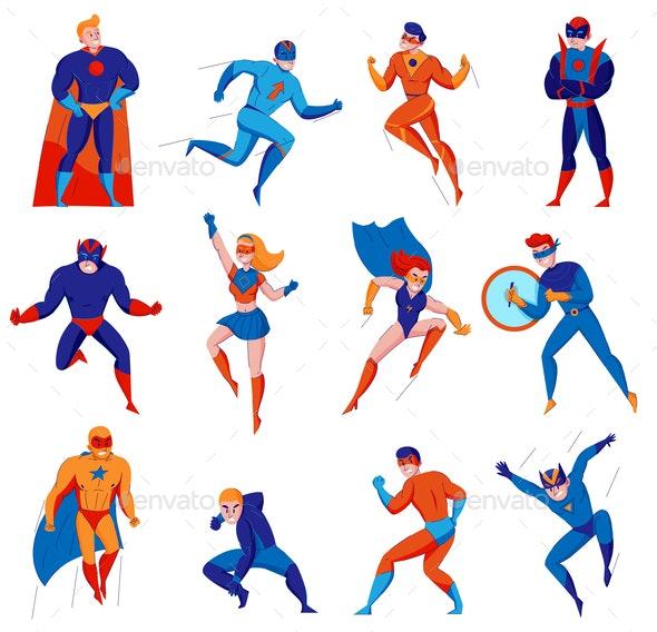 Superhero Character Set - People Characters